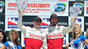 Keanu Reeves and Al Unser, Jr. at the Toyota Grand Prix of Long Beach in 2009.